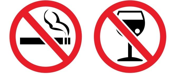 запрещены алкоголь и никотин